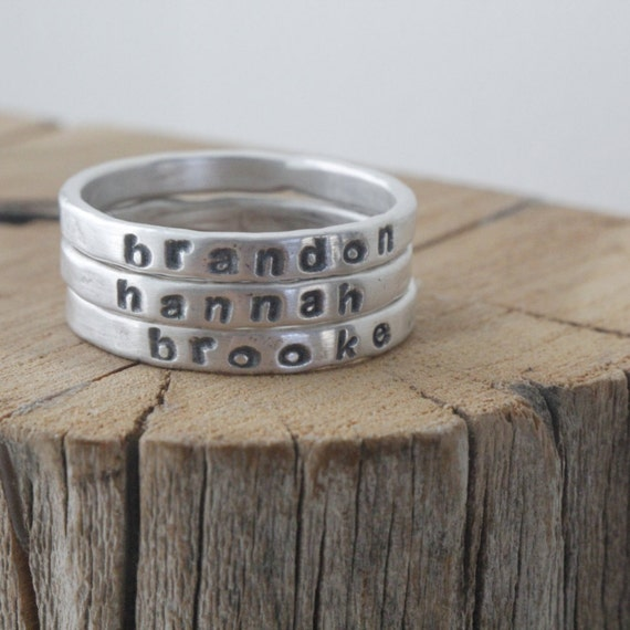 personalized stackable mothers ring 2mm silver gift for