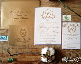 100 Crest Monogram Wedding Invitations - The Allexus Collection - By My Lady Dye