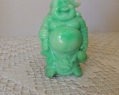 Mottled Light Green Laughing Buddha Statue. Mint Green Smiling Buddha Figurine. Lime Green Oriental Meditation Lucky Figure