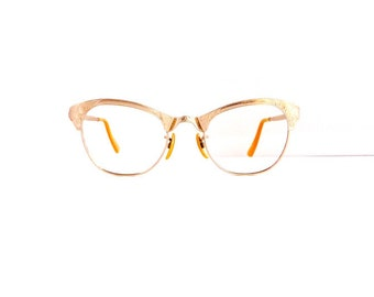 Cat Eye Eyeglasses FramesGold filled  //Rare Women's Vintage 1950's Browline // Engraved Silver Colour with 12K Gold Fill Frames //#M261
