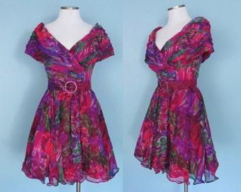 Vintage Watercolor Tadashi Cocktail Dress with Matching Rhinestone Belt Pink Purple Frill Hem 8