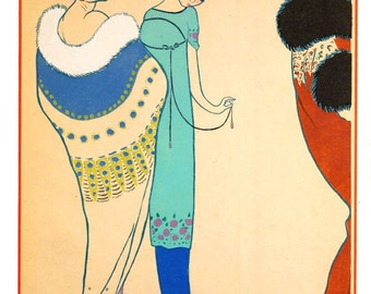 antique french art deco haute couture fashion designer Paul Poiret 1920 design illustration digital download