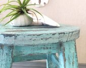 Rustic Milking Stool with Chippy Aqua Turquoise Blue Finish for Beach Farmhouse and Cottage Home Decor