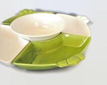 Vintage 4 Piece Leaf Green White Chip Dip Platter Ceramic Pottery