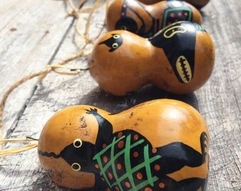 Vintage small gourd with Mimbres style design Christmas ornament, Native American or Mexican inspired folk art, Southwestern tree ornament