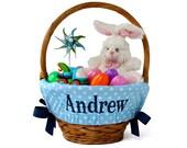 Personalized Easter Basket Liner, Big Blue Dots, Basket not included, Monogrammed Easter basket liner, Custom basket liner with name added