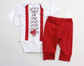 Baby Boy Valentine's Day Outfit WITH pants. For Baby Boy, Newborn Boy, Toddler boy. Perfect for First Valentine's Day. Pictures outfit.
