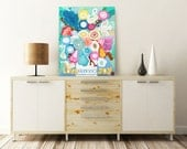 Love and Joy. Large flowers painting, original, acrylic painting, wall art, wall decor, light color, blue, white.