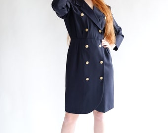 SALE - Navy coat dress, vintage, small - medium
