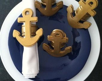 Gold Metallic Anchor Napkin Rings - Set of 4