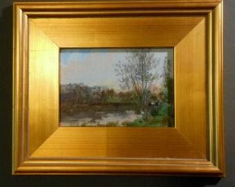 Spring Along the Big Muddy River_Original Oil Painting_Gold Leaf Wood Frame_ Landscape_ Pochade Box Painting_Alla Prima Study_En Plein Air