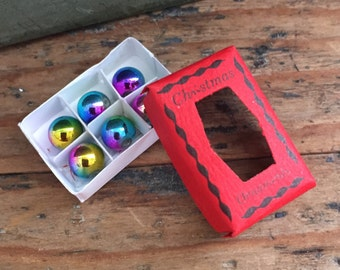 Miniature Christmas Ornaments with Box, Dollhouse Scale 1:12 Miniature, Dollhouse, Accessories