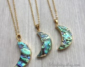 Abalone Moon necklace, Paua shell, crescent, gold electroplated pendant
