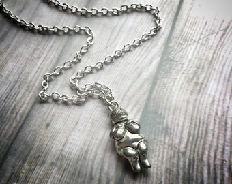 Venus de Willendorf Goddess necklace in silver pewter or gold plated finish