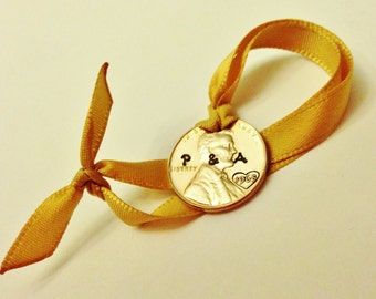 1967 50th Anniversary Ornament: 1967 + MINT UNCIRCULATED Penny, Personalized Christmas Ornament, 50th Birthday Wedding, LARGE Print Option