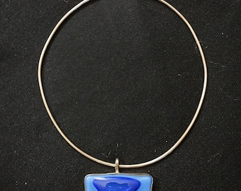 Vintage Sterling Silver and Blue Stone Choker Pendant Necklace