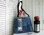 Insulated Lunch Bag with Long Handles for your meal, Recycled Jeans and Cotton