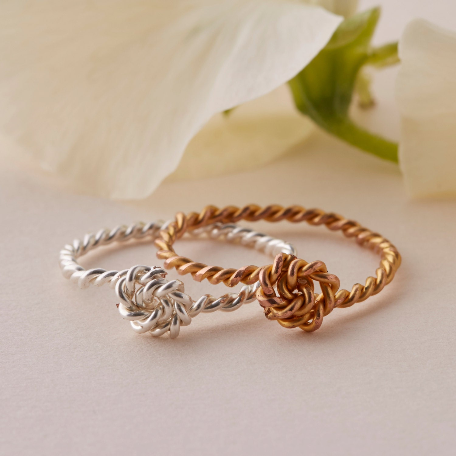 knot ring twisted rope ring stacking ring in gold or. Black Bedroom Furniture Sets. Home Design Ideas