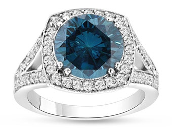 3.83 Carat Fancy Blue Diamond Engagement Ring, Wedding Ring 14K White Gold Halo Pave Certified Handmade Unique