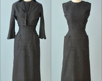 Vintage 1960s Dress and Jacket...MARLENE Black Wiggle Dress and Bolero Jacket
