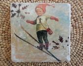"Marble Stone Coaster - Vintage Ski - ""Cute Boy"" - Ski Decor - Drink Coaster - Ski Decor - Ski Gift - Hostess Gift"