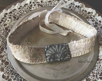 Art Deco Bridal Lace Choker, Wedding Jewelry, Lace Bridal Choker, Victorian, Edwardian