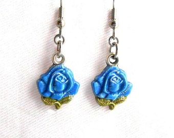 Lagoon Blue Rose Earrings