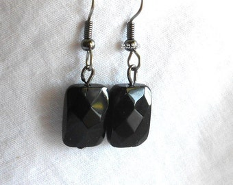 Black Earrings Rectangle Earrings Faceted Earrings Surgical Steel Earrings Beaded Earrings Drop Earrings