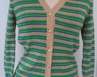 70s STRIPED LUREX CARDIGAN--Blue, Green and Gold Stripes--Pearly Buttons--Skinny Fit