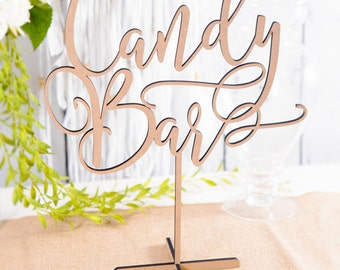 Wood Candy Bar Table Sign Standing DIY or Custom Gold & More, Wedding or Party Dessert Candy Table Favor Reception Signs (Item - LCB150)