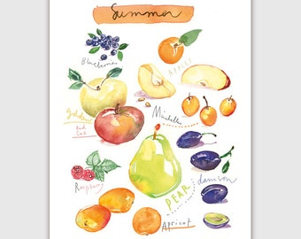 Summer fruits, Fruit print, Watercolor fruit poster, Seasonal fruits, Kitchen wall art, Home decor, Fruit painting, Food art, Colorful decor