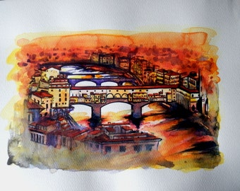 """Large Italian Lanscape Scenic of Italy Tuscan Art Original Watercolor """"Old bridge of Florence """"Made in  Italy    Italian Landscape & Scenic"""