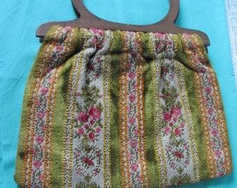 PURSE Yarn Craft Bag Handbag Vintage 1970s Funky Green Pink Orange Floral Print Stripes Striped