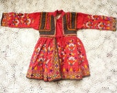 1970's Vintage Young Girl's Rajasthan Patchwork Mirror Embroidered Cotton Smock Folk Dress