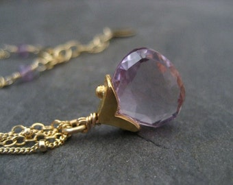 Amethyst necklace, pink amethyst, faceted briolette, dotted cap, double chain, genuine gemstone
