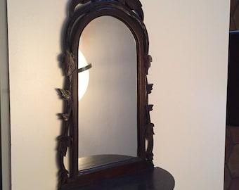 Vintage Mirror/Black Forest Carved Wooden Mirror/Carved Wood Shelf/Mid Century Wooden Mirror/ Hand Carved Mirror/ By Gatormom13