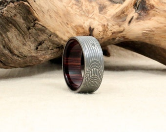 damascus steel and wood ring kingwood rosewood wooden ring damascus steel ring - Damascus Wedding Ring