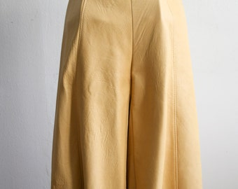 Tan Leather Gaucho Pants
