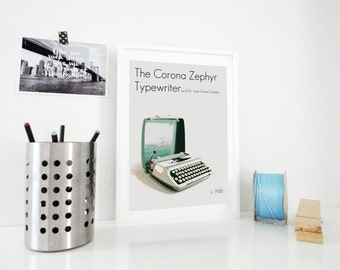 Art Print Poster The Corona Zephyr Vintage Typewriter - Vintage Designer Typewriter Gift for Writer - Scandinavian Style Objects Home Decor