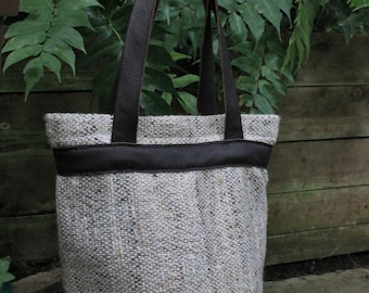 Leather bag with Saori handwoven fabric - handwoven unique large tote bag - Christmas gift