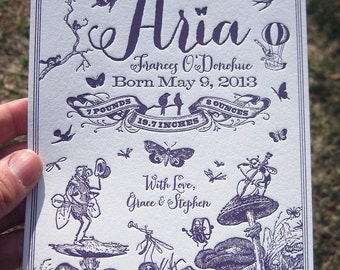Springtime Bug Band Custom Letterpress Birth Announcements
