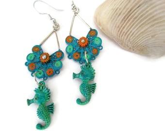 turquoise sea horse dangle earrings, flower earrings, ocean nautical earrings, patina painted, beach wedding, hand painted