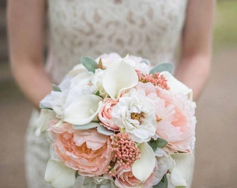 Wedding bouquet, Peach peony bouquet, Boho bouquet, Rustic bouquet, Rose bouquet, Brides bouquet, Silk flower bouquet