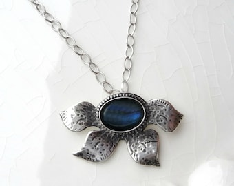 Blue Lagoon Lilly Necklace - Sterling Silver, Labradorite with Chain - One of a Kind pendant, Gift Idea