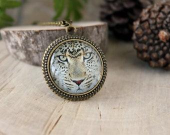Leopard Medallion, Antique Bronze Pendant, Glass Cabochon Pendant With Chain