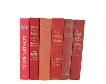 Red Pink Books   Decorative Vintage Books for Wedding Decor, Home Decor, and Photography Prop , Gift for Book Lovers