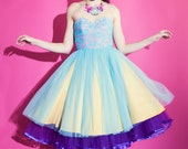 Tulle Pink and Turquoise 1950's Strapless Party Dress , prom, lace bodice, iridescent beads, yellow skirt, tulle, full cirlce skirt, party
