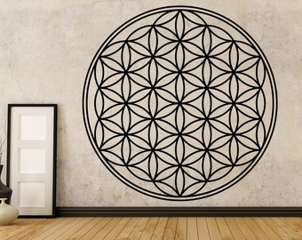 Flower Of Life Decal, Boho Decals, Vinyl Mandala Decal, Flower of Life Sticker, Mandala Decal, Seed of Life, Wall Decals, Geometric