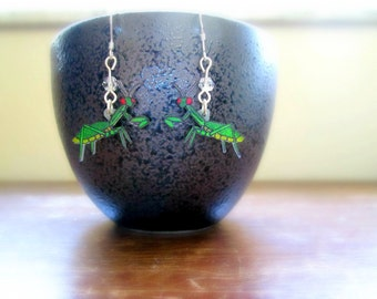 Mantis Earrings - Hand Drawn Shrink Plastic and Sterling Silver
