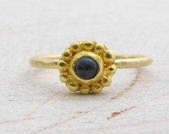 Blue Tourmaline & Gold Ring -   24kt Gold Engagement Ring - 24 Karat Gold Ring